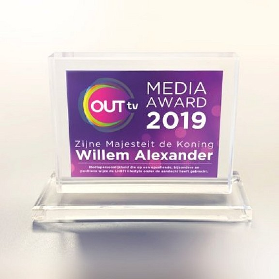 Foto: OUTtv - Koning Willem-Alexander wint OUT Media Award 2019