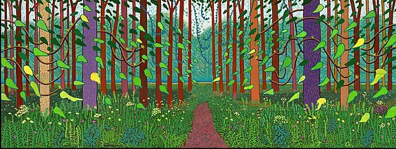 David Hockney, 'Het aanbreken van de lente in Woldgate, East Yorkshire in 2011 (tweeduizendelf)', olieverf op 32 doeken, © David Hockney, Foto: Richard Schmidt, Centre Pompidou, Parijs. Musée national d'art moderne – Centre de création industrielle